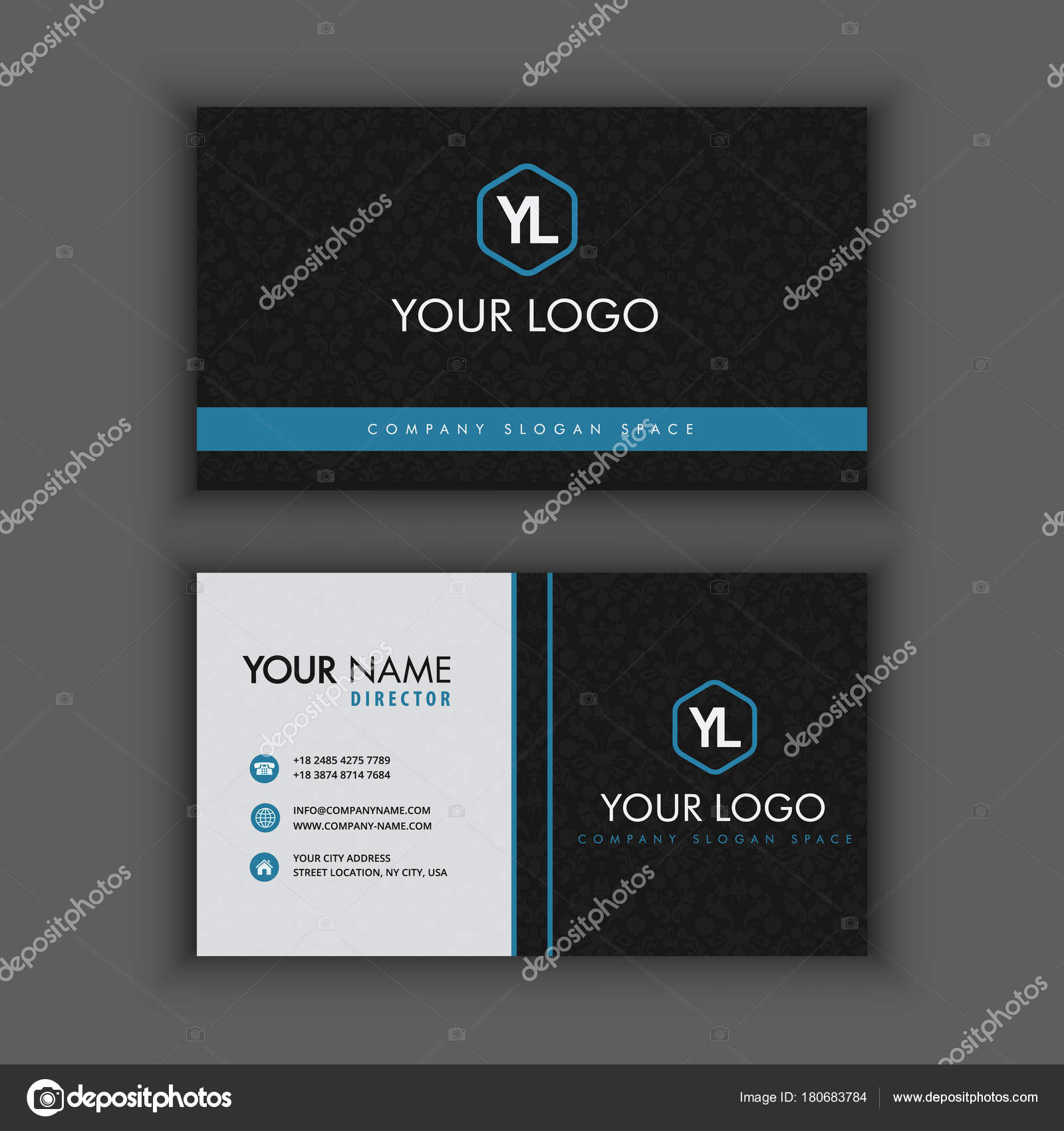 Modern Creative and Clean Business Card Template with Blue black ...