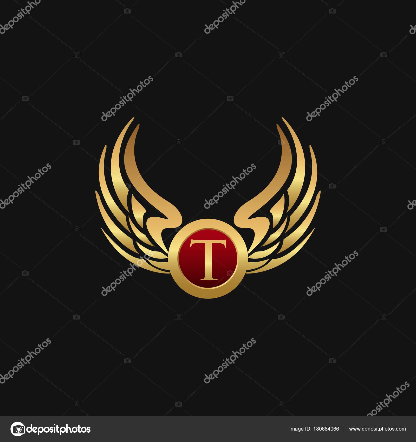 mod le de luxe lettre t embl me wings logo conception concept image vectorielle oriu007. Black Bedroom Furniture Sets. Home Design Ideas