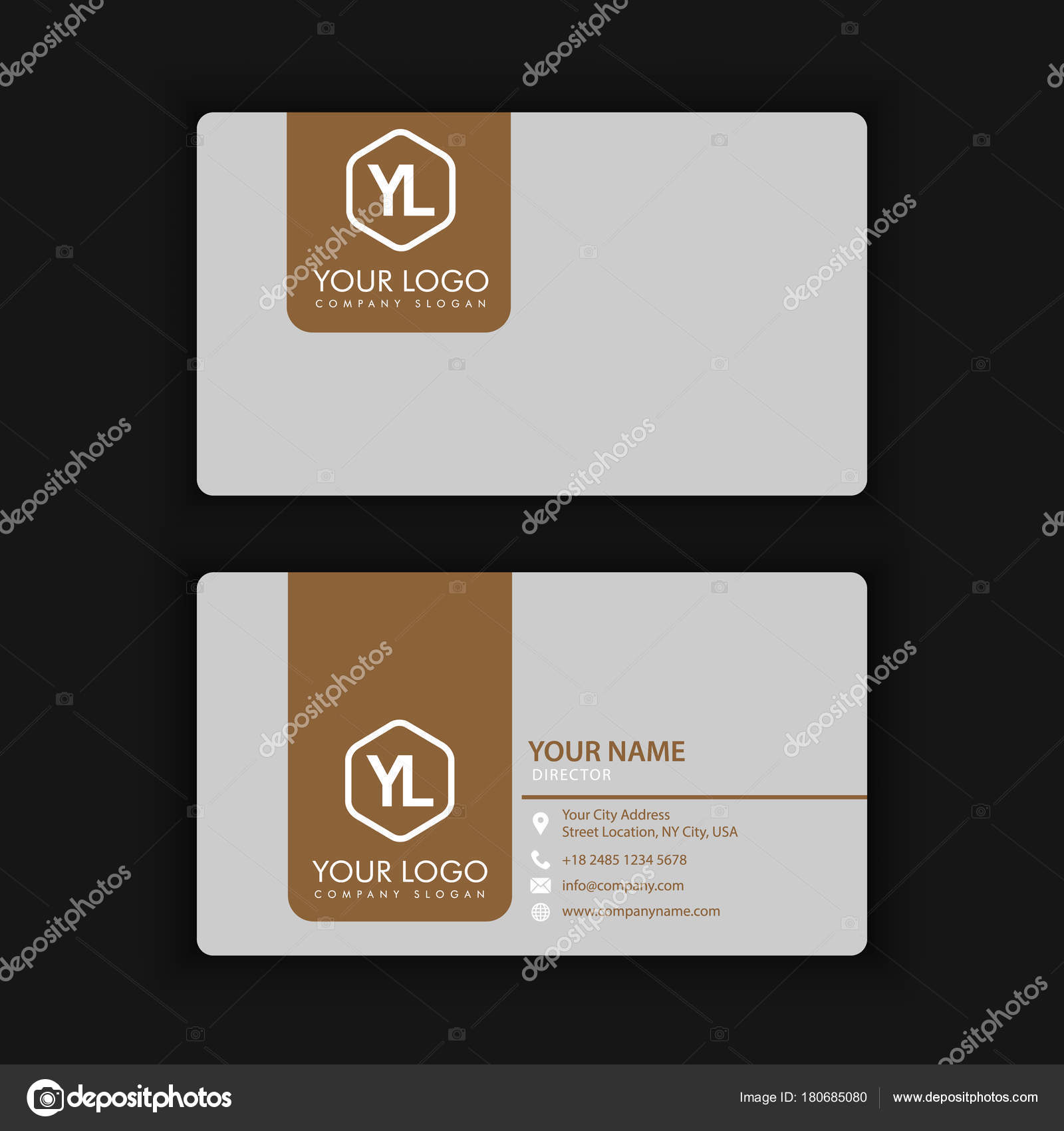 Modern Creative and Clean Business Card Template with gold grey ...