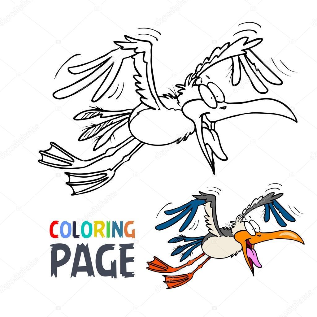 malvorlage vogel fliegend - zeichnen und färben