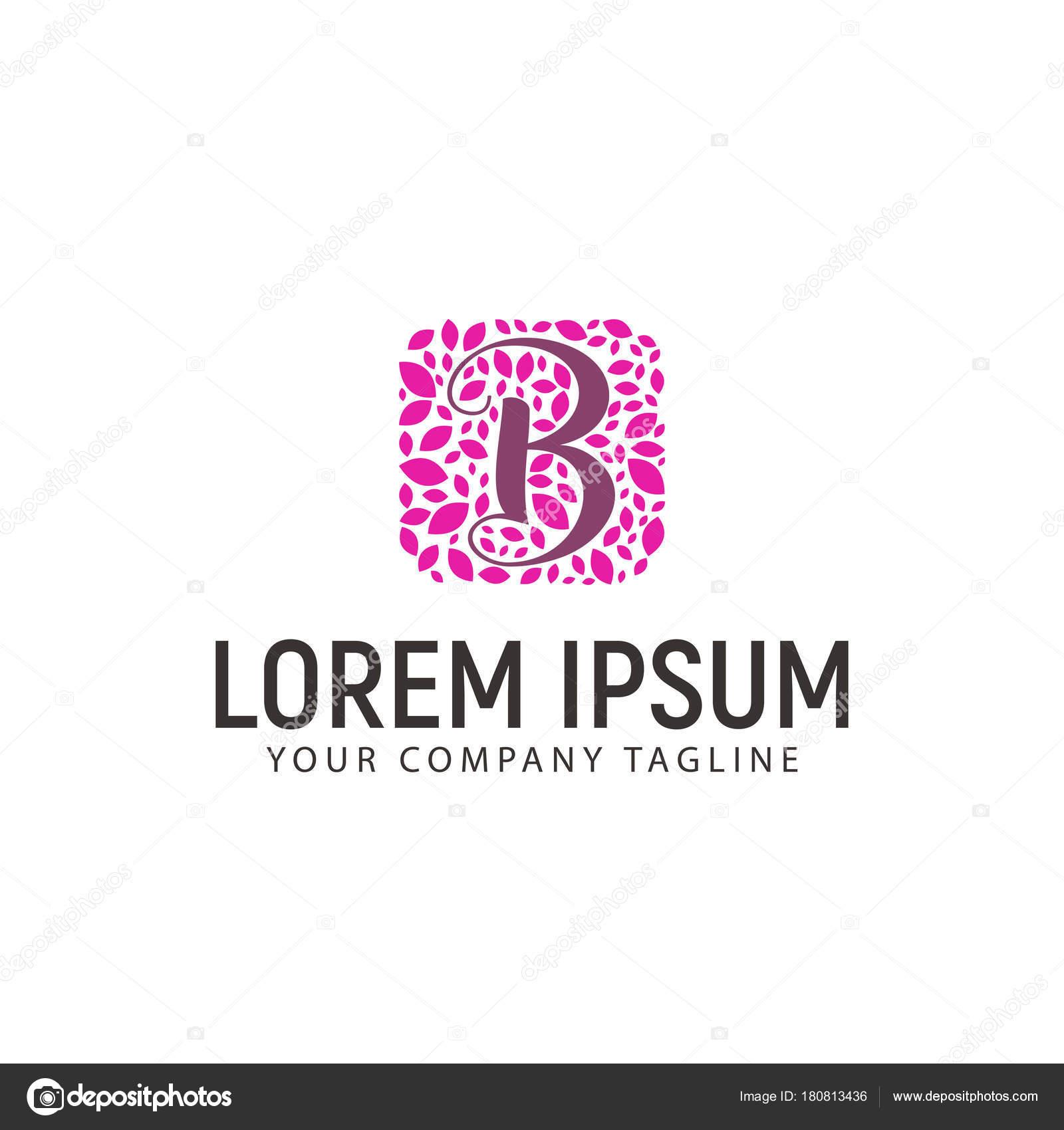 Letter B With Leaf Decoration Logo Wedding Beauty Design Concept