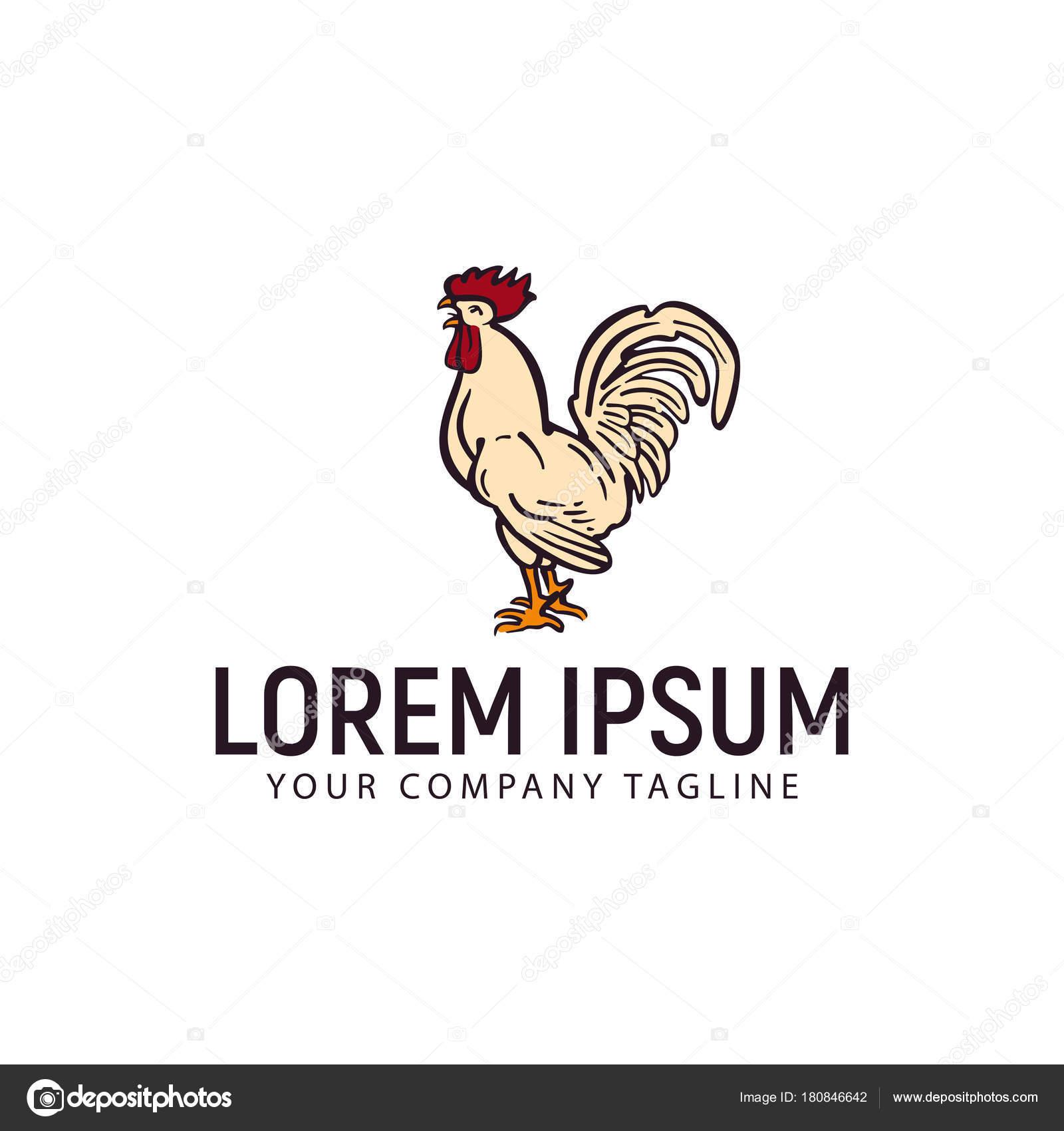 hen chicken logo hand drawn design concept template stock vector