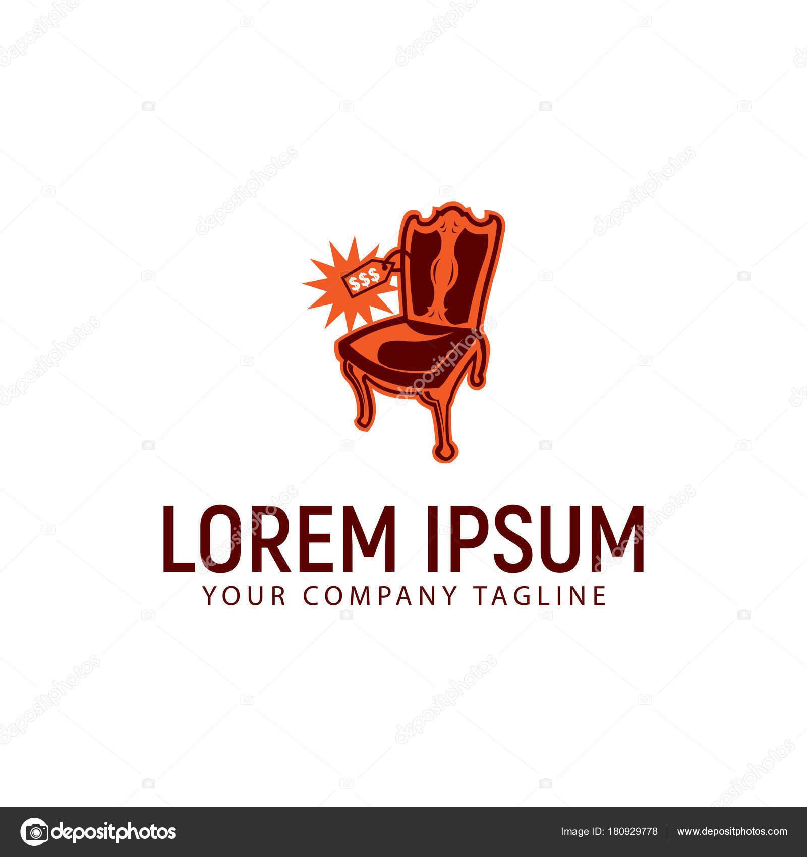 modello di concetto di sedia a dondolo prezzo logo design ...