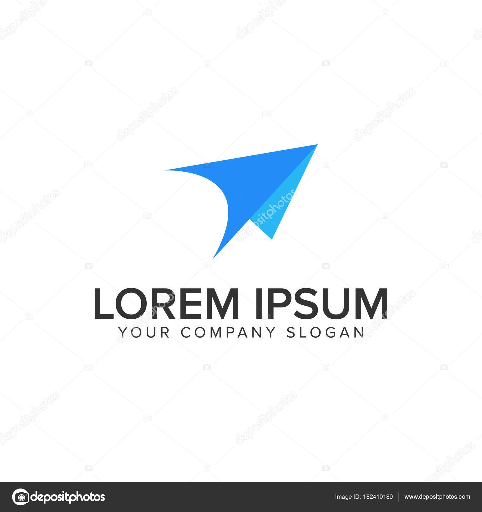 modernes Papier Flugzeug Logo-Design-Konzept-Vorlage — Stockvektor ...