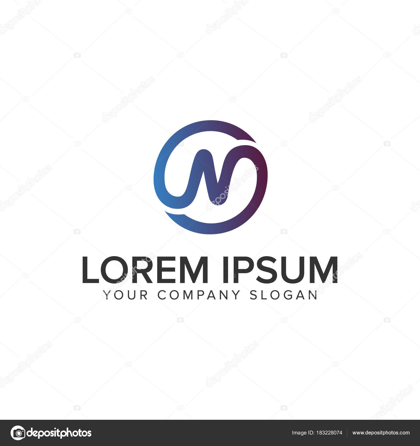 d269e877c Modelo de conceito de design de logotipo letra N círculo de linha — Vetores  de Stock