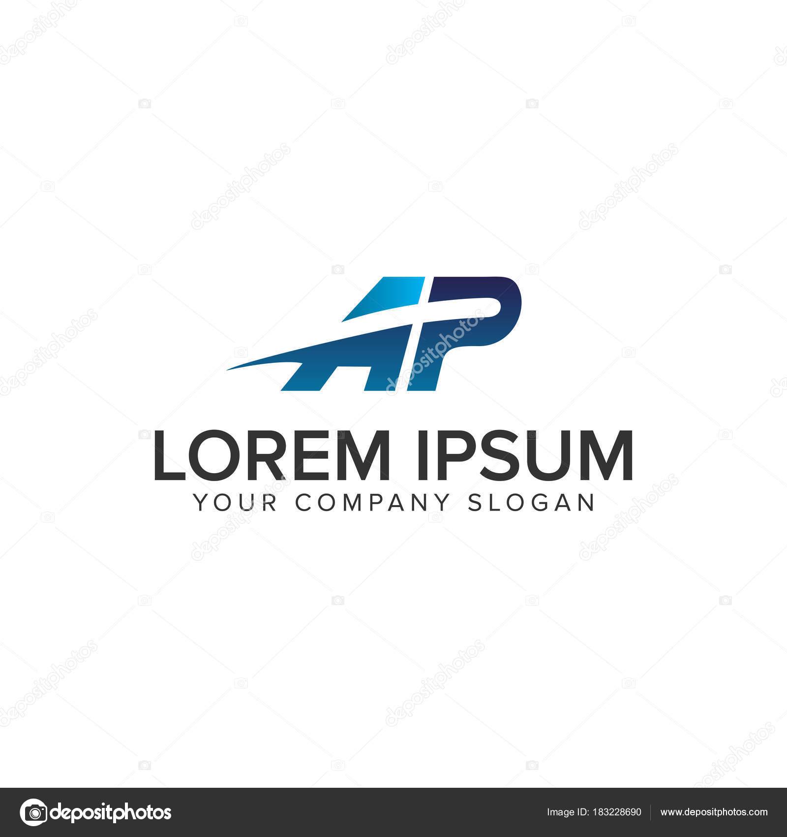 Plantilla de concepto de diseño de logo de carta A P cometa ...
