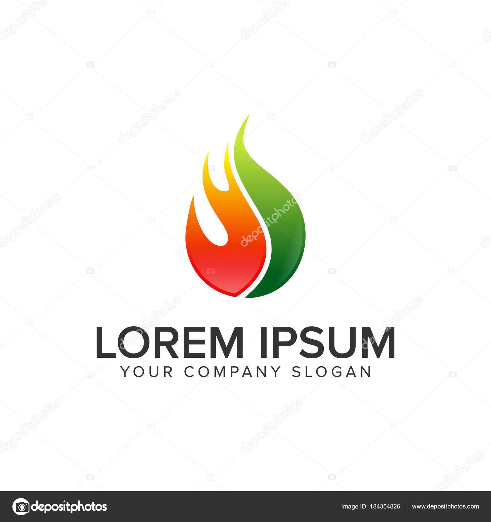 Drop fire. oil gas logo design concept template. — Stock Vector ...