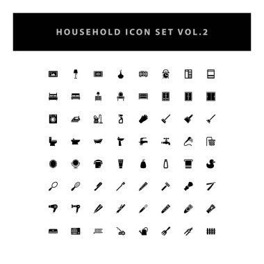household appliances vector icons set vol 2 with glyph style design