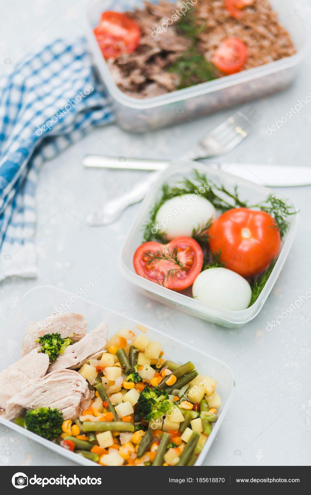 Vielzahl Von Sauberen Diat Gerichte In Containern Gesunde Saubere