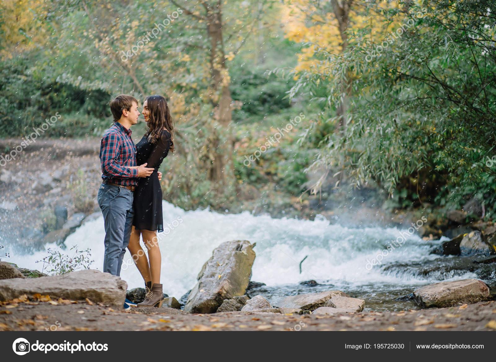 Beautiful Young Couple In The Rain In Nature Stock Photo C Liliyabatyrova Mail Ru 195725030