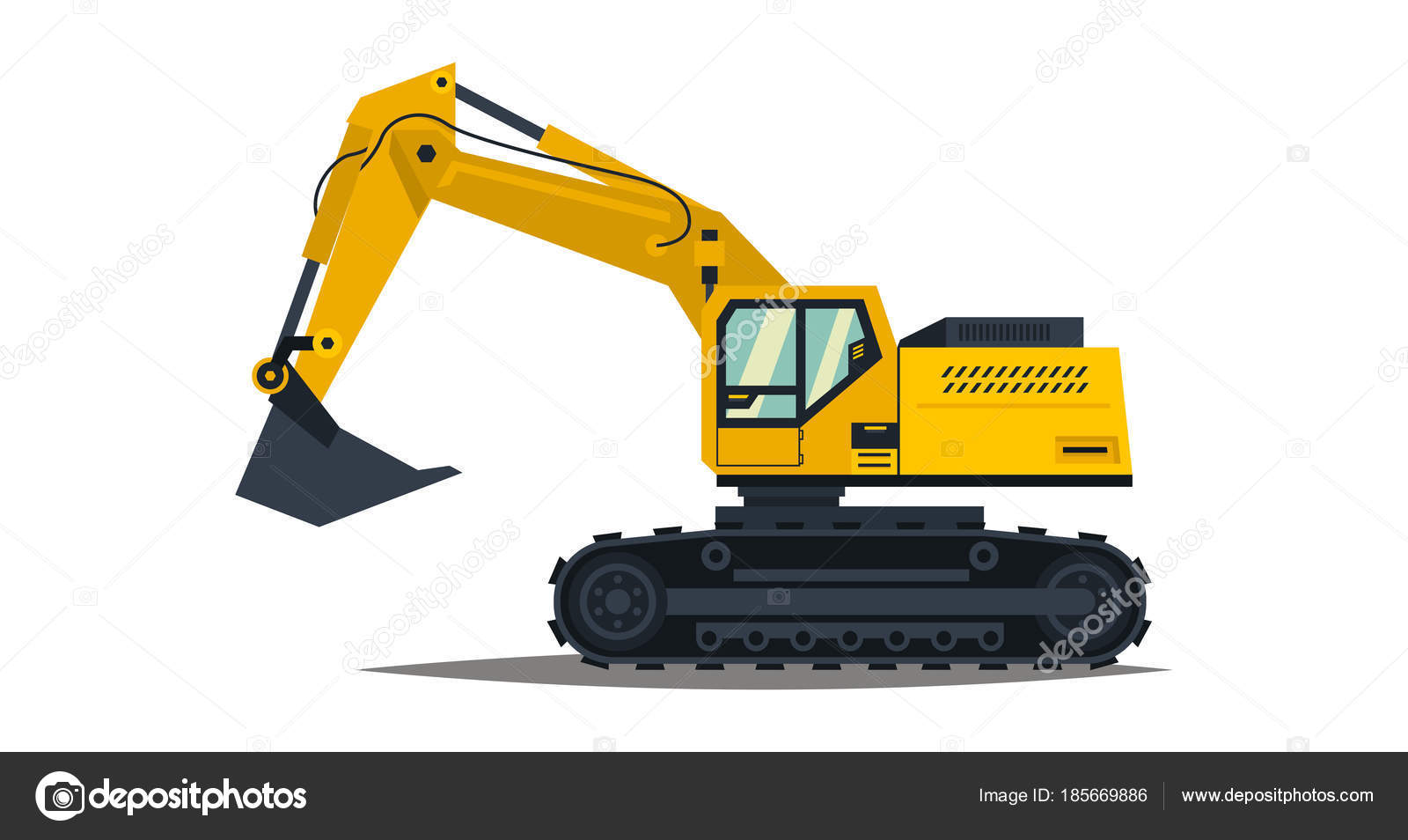 Isolated On White Background Special Equipment Construction Machinery Vector Illustration