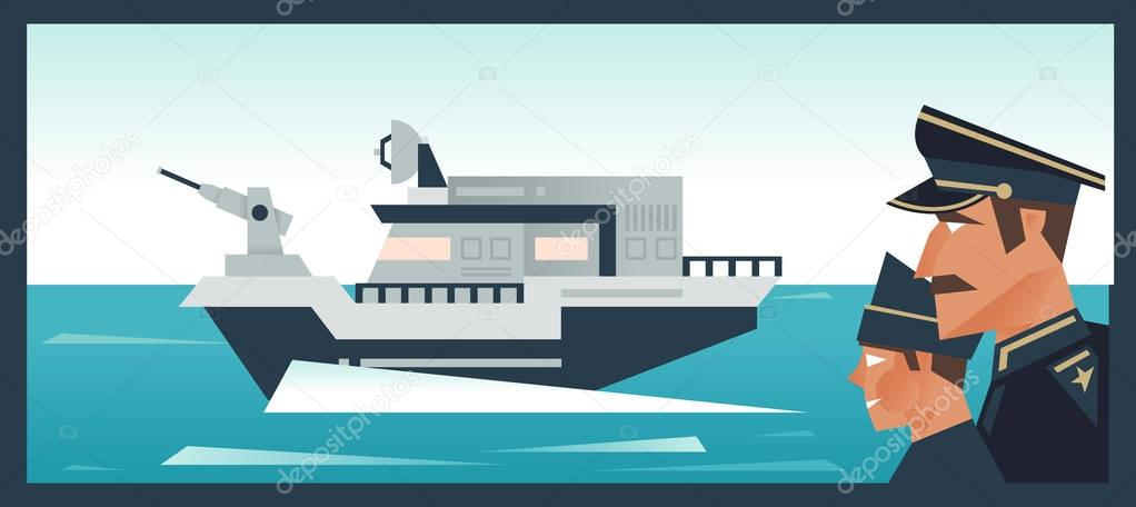 Officers and sailors. Military Navy ship at sea. Guarding the border. Vector illustration