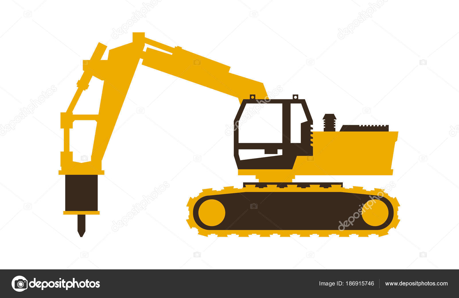 icon excavator with his hammer construction machinery vector rh depositphotos com construction vector art construction vector logo free
