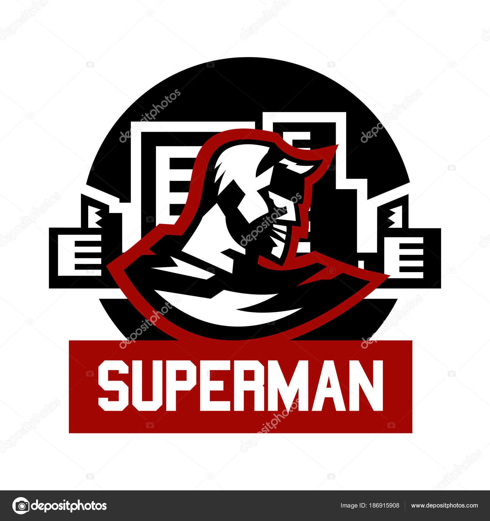 Superman Logo. Superhelden-Kostüm, Kap, Stadt. Vektor-Illustration ...