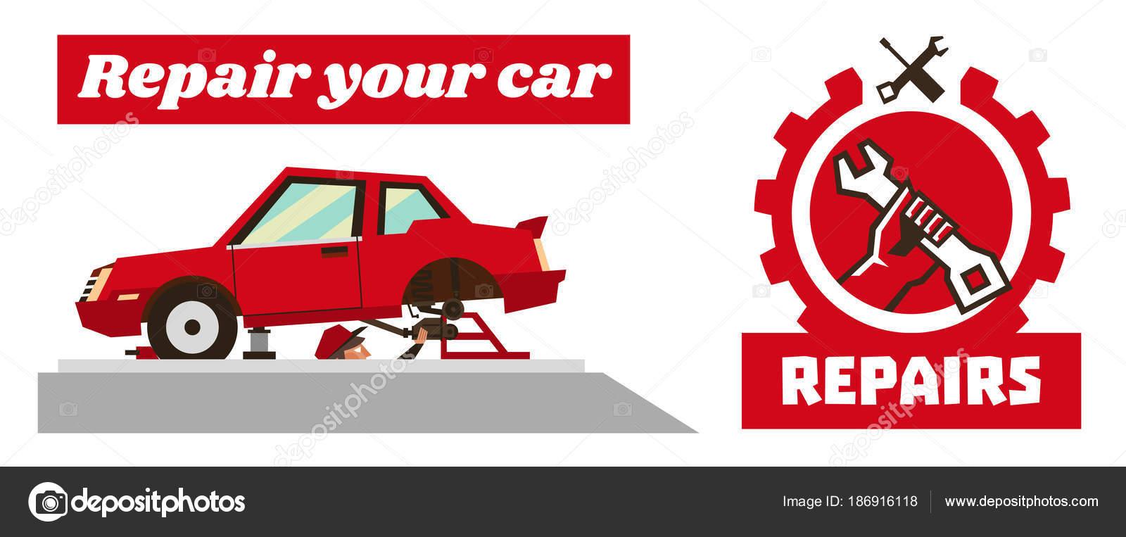 Horizontale Banner Vorlage auf Autoreparaturen. Logo zu reparieren ...