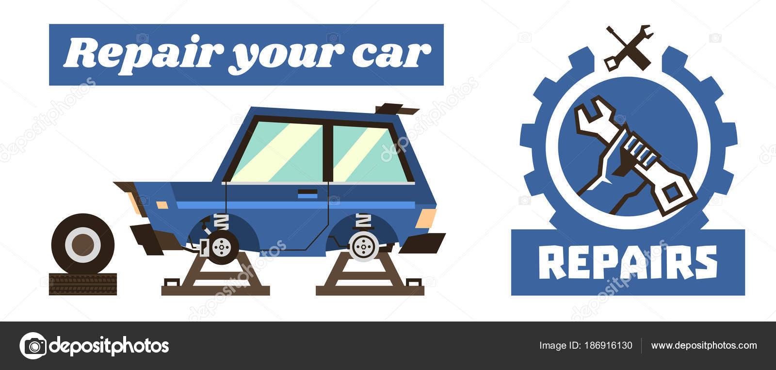 Plantilla de banner horizontal en reparaciones de automóviles ...