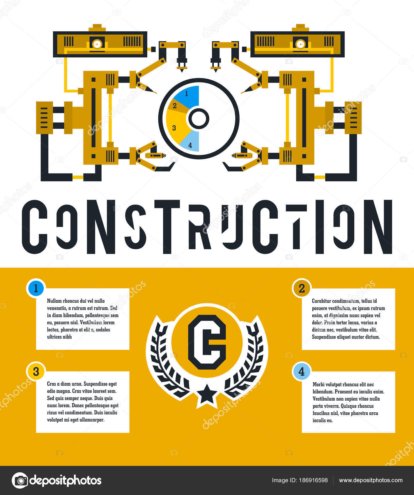 Vector Illustration Infographic On The Construction Site Diagram