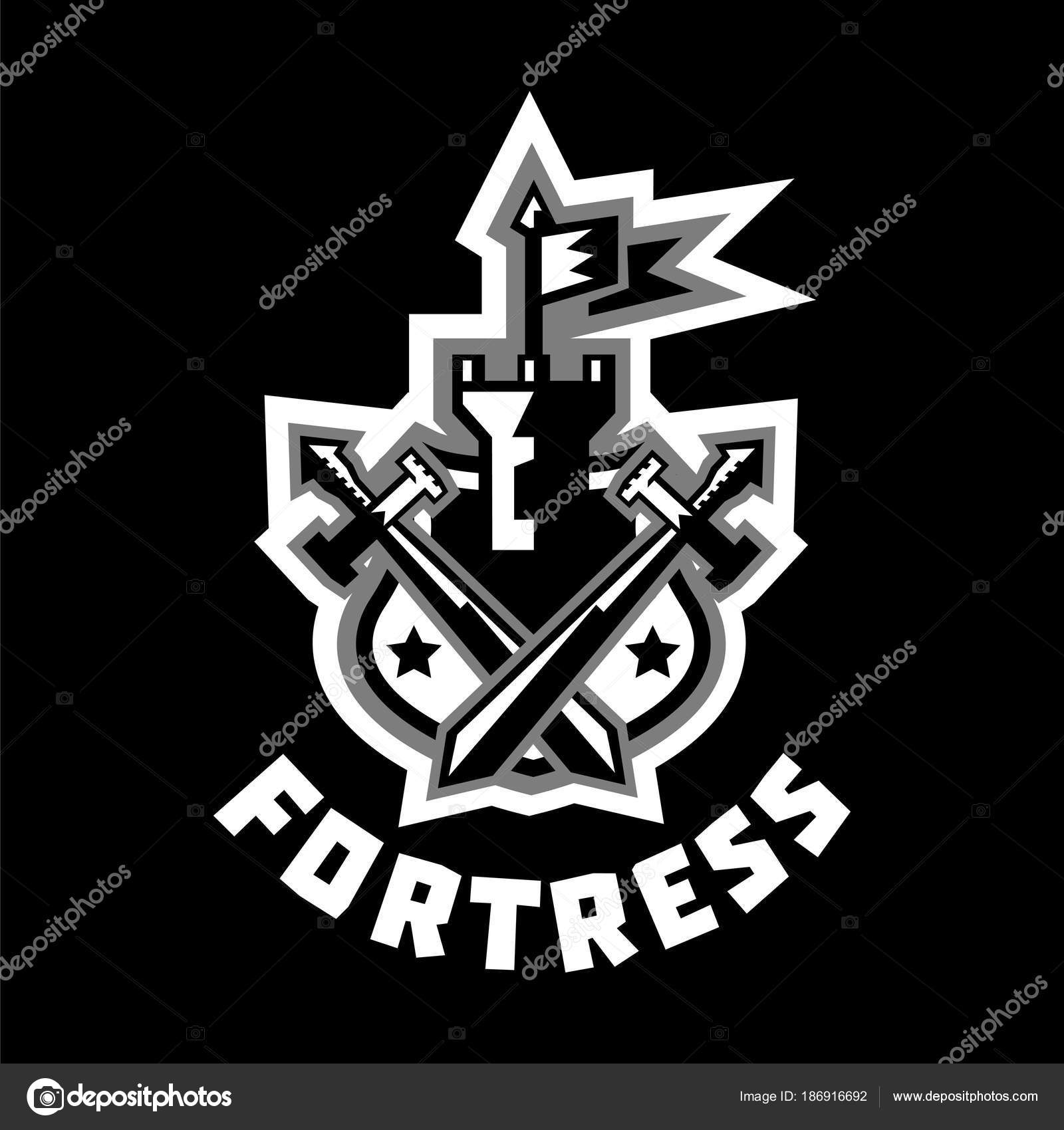 f7397912439 Castillo y bandera, espadas Cruz ubicado en el escudo. Piñones, corona.  Etiqueta engomada del color blanco y negro. El emblema en la edad media y  la guerra.