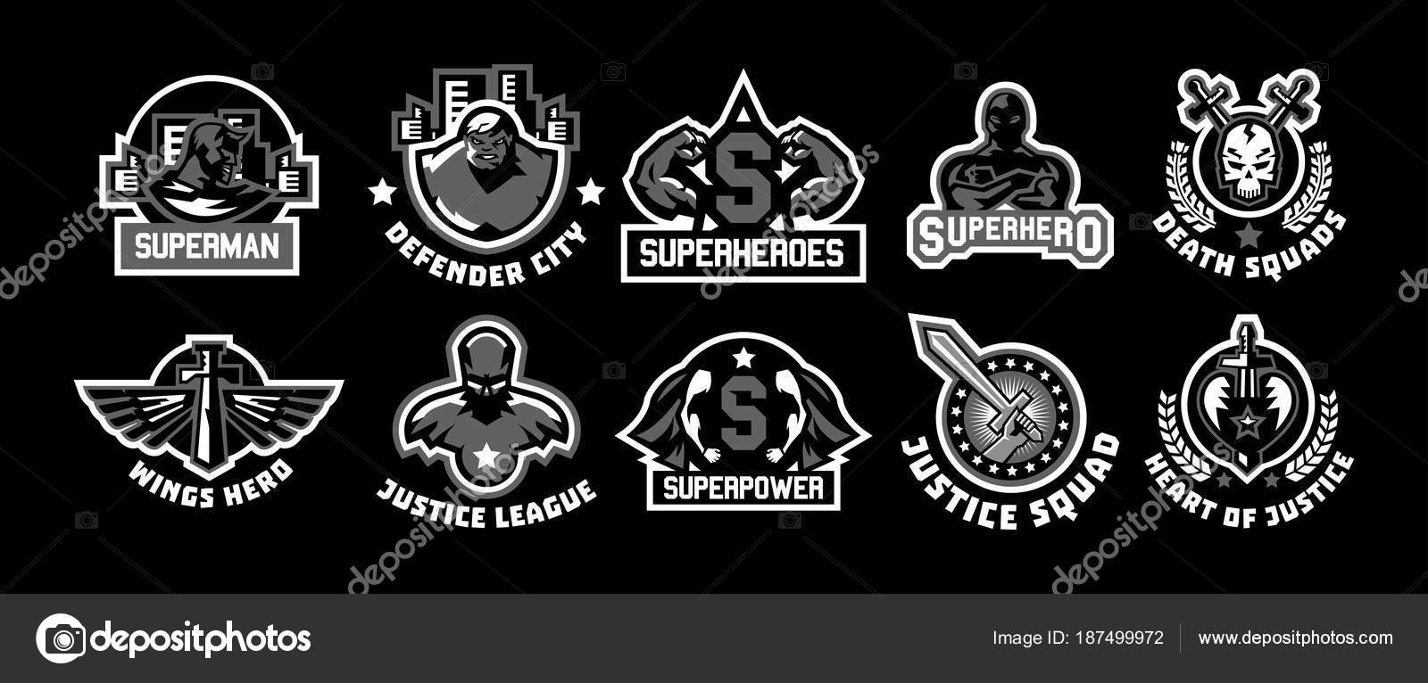 Set Of Superhero Logos A Collection Of Images Of Superman The Suit