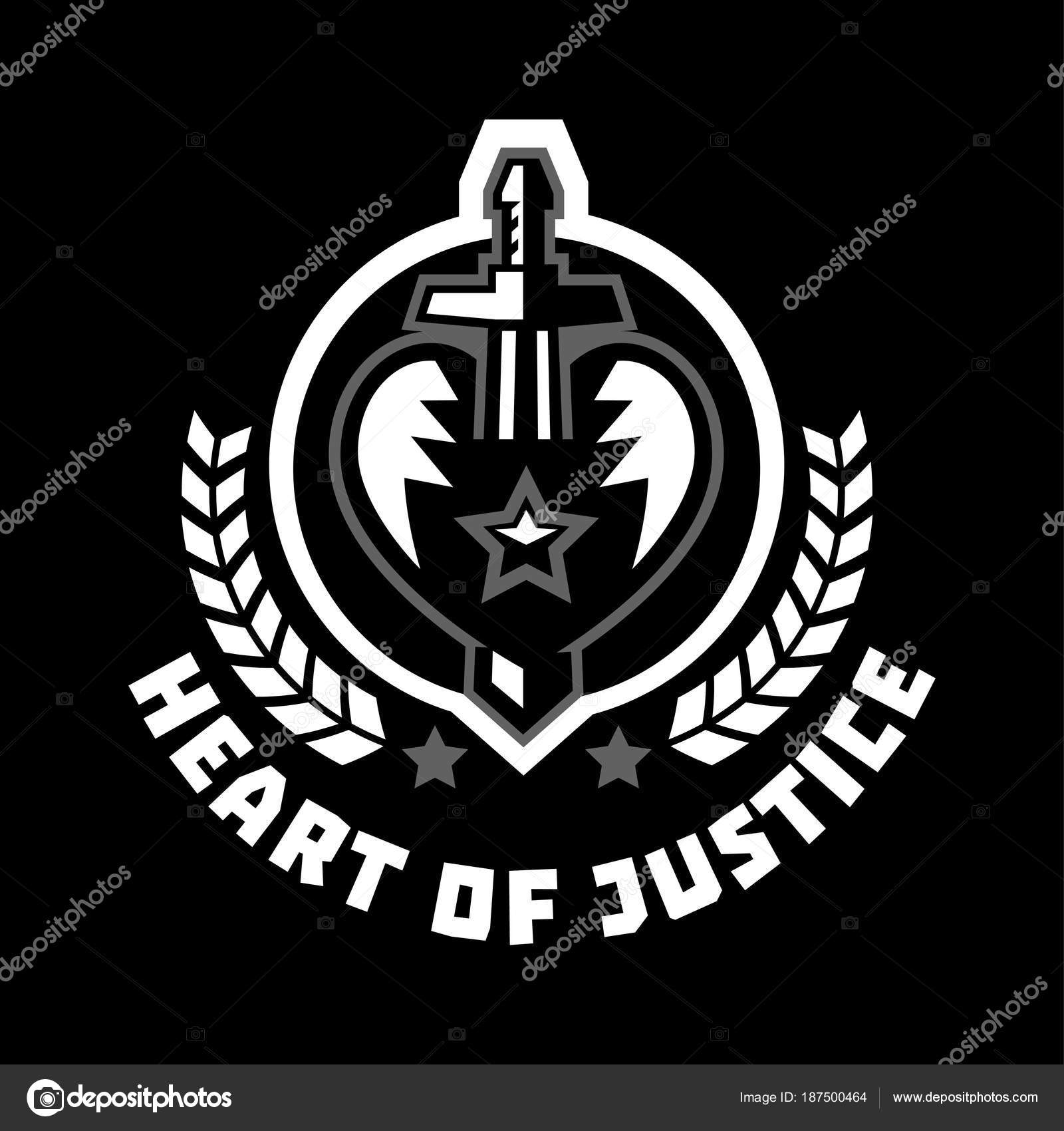 Logo heart of justice  The sword piercing the heart  Blood