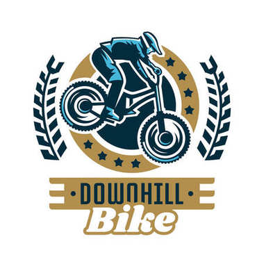 Logo mountain bike. A cyclist coming down the mountain. Extreme sport. Danger, downhill. Vector illustration. Flat style