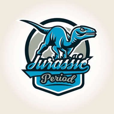 Colourful emblem, logo, label the world of the dinosaurs of the Jurassic period of the Mesozoic era is isolated on a background of the shield. Vector illustration, printing for t-shirts