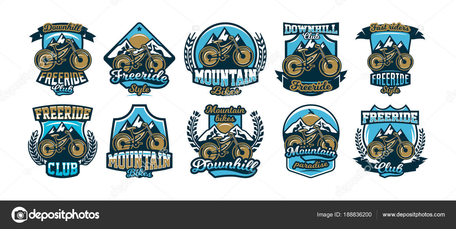 A Collection Of Colorful Logos Labels Logos Mountain Bike