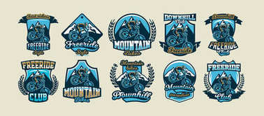 Collection of colorful logos, emblems, stickers rider to perform tricks on a mountain bike on a background of mountains, isolated vector illustration. Club downhill, freeride. Print on T-shirts.