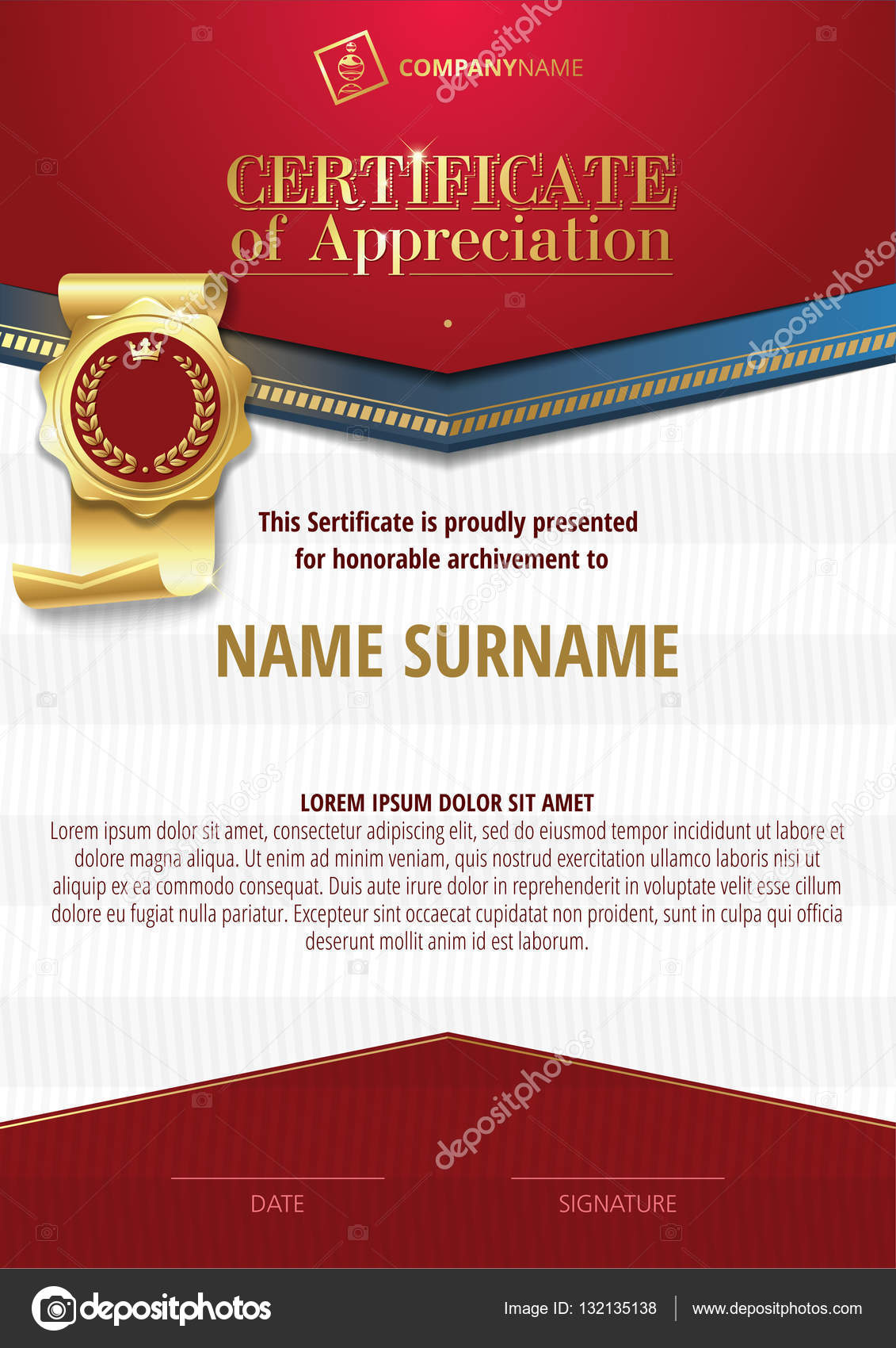 Template of certificate of appreciation with golden badge and red template of certificate of appreciation with golden badge and red elements stock photo yelopaper Choice Image