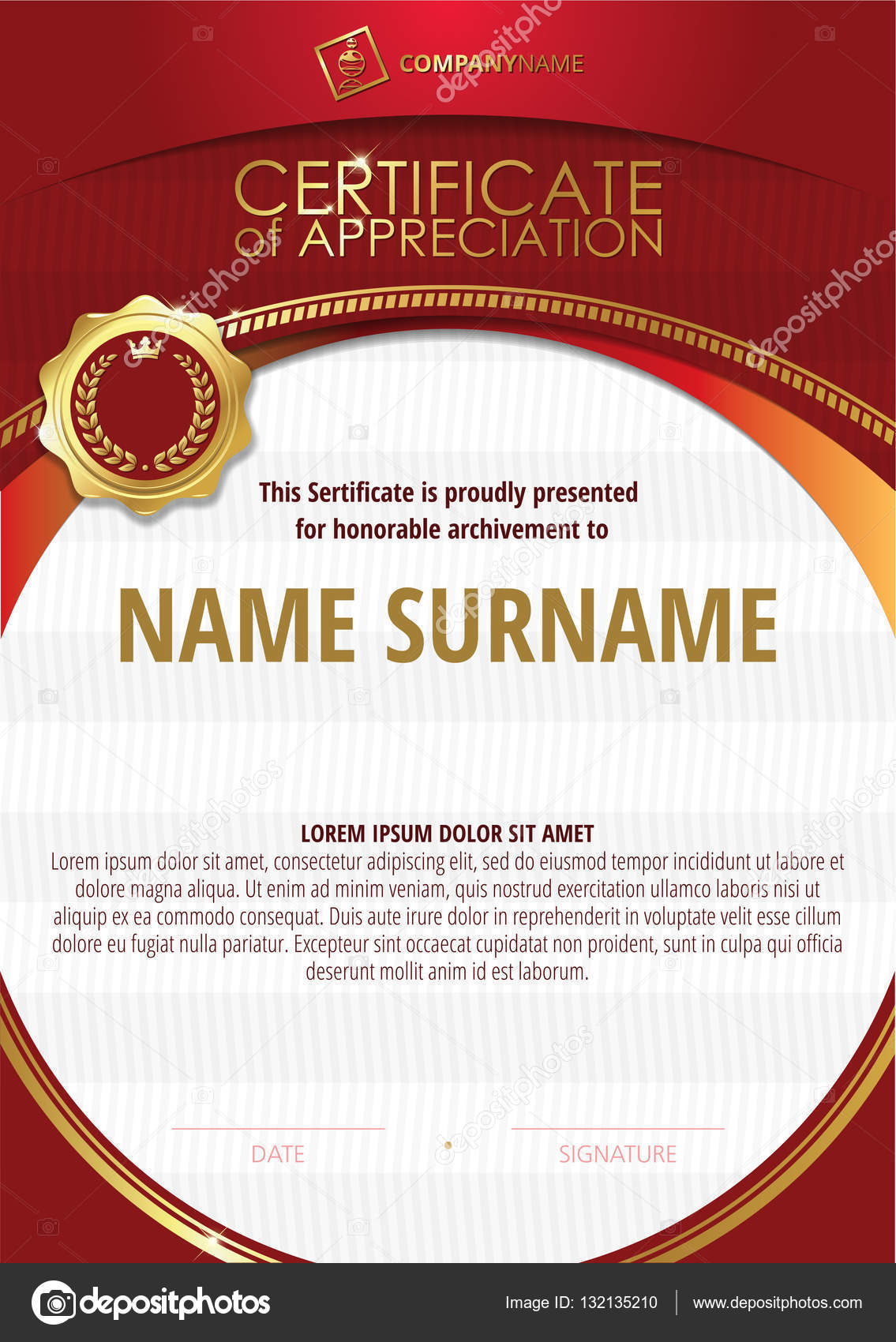 Template of Certificate of Appreciation with golden badge and red ...