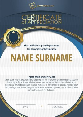 Template of Certificate of Appreciation with golden badge and blue round frame