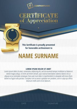 Template of Certificate of Appreciation with golden badge and blue elements