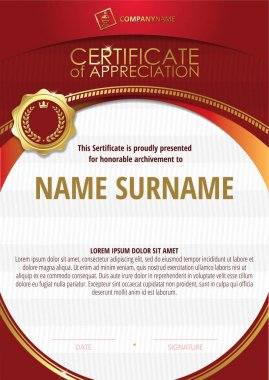 Template of Certificate of Appreciation with golden badge and red round frame