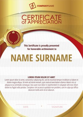Template of Certificate of Appreciation with golden badge and round frame