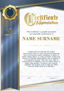 Template of Certificate of Appreciation with golden badge and blue ribbon