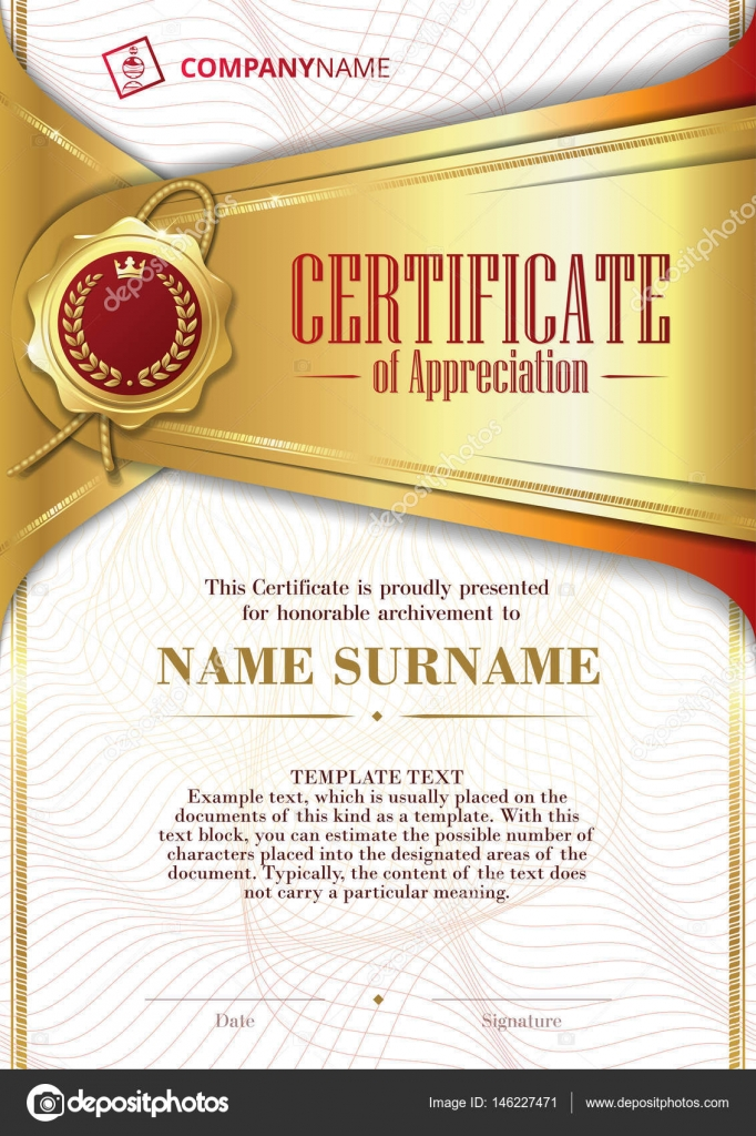 Template Of Certificate Of Appreciation With Golden Badge