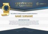 Šablona certifikátu ocenění zlatý odznak a modré prvky, horizontální