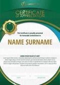Šablona certifikátu uznání s zlatý odznak a zelený Kulatý rám