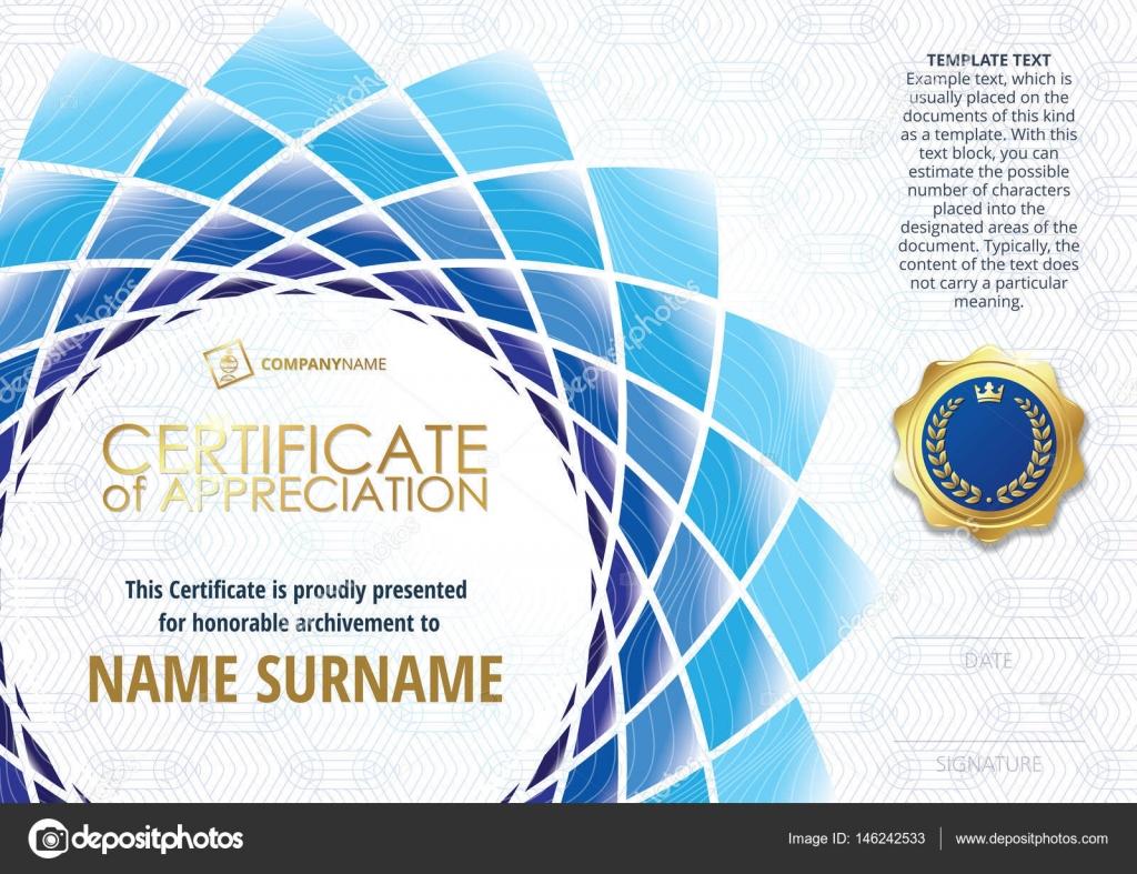 Vorlage des Certificate of Appreciation mit goldenen Abzeichen mit ...