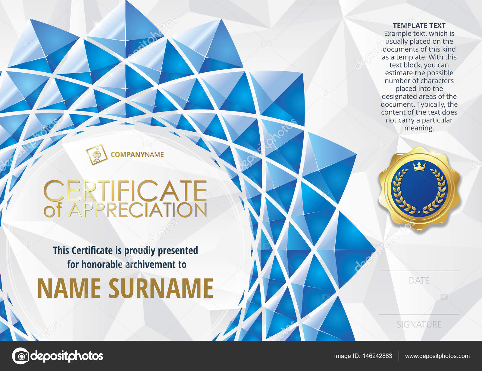 Template of certificate of appreciation with golden badge with template of certificate of appreciation with golden badge with flower shaped elements of blue triangles yadclub Images