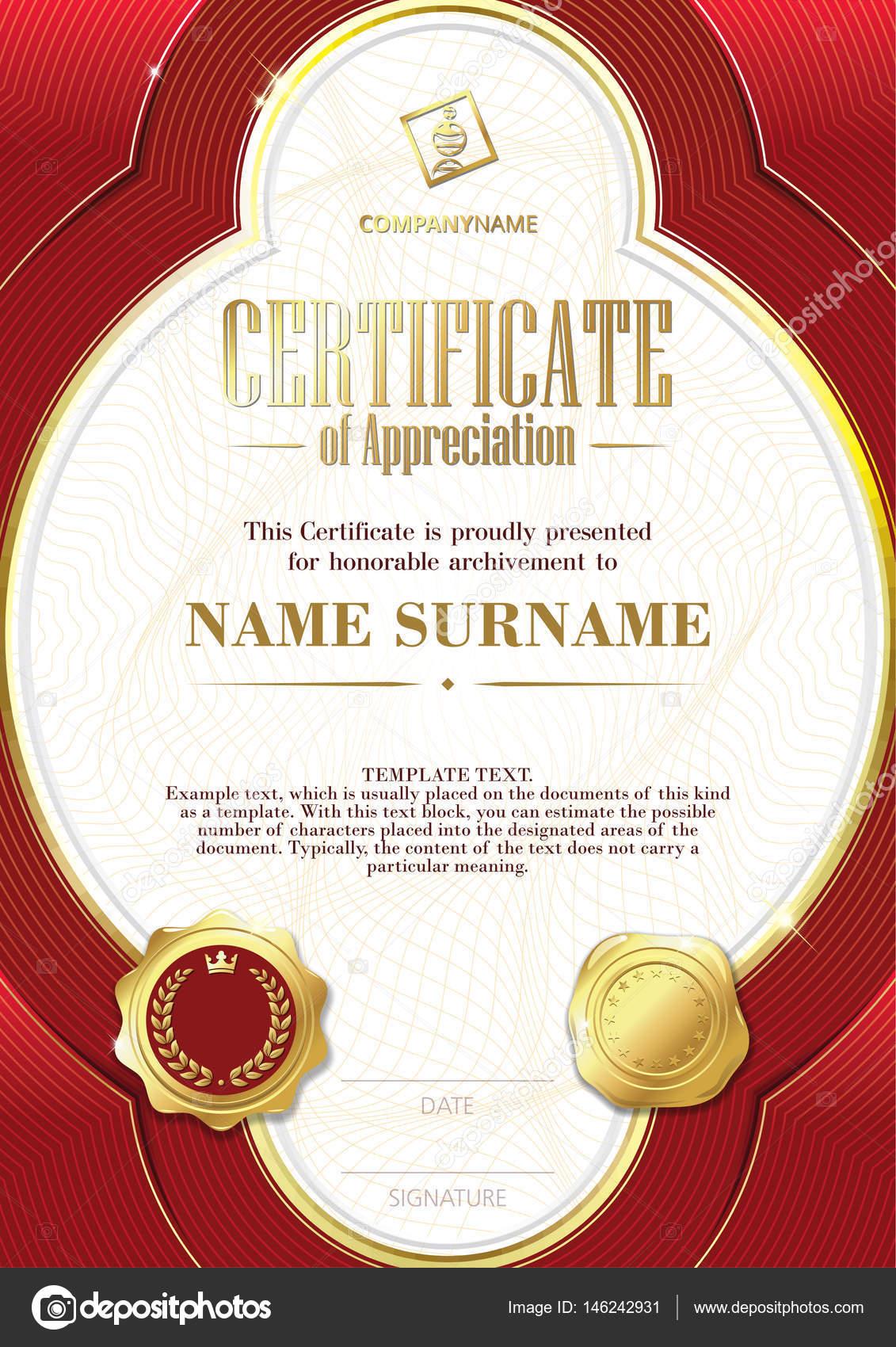 Plantilla de certificado de reconocimiento con dos insignias de oro ...