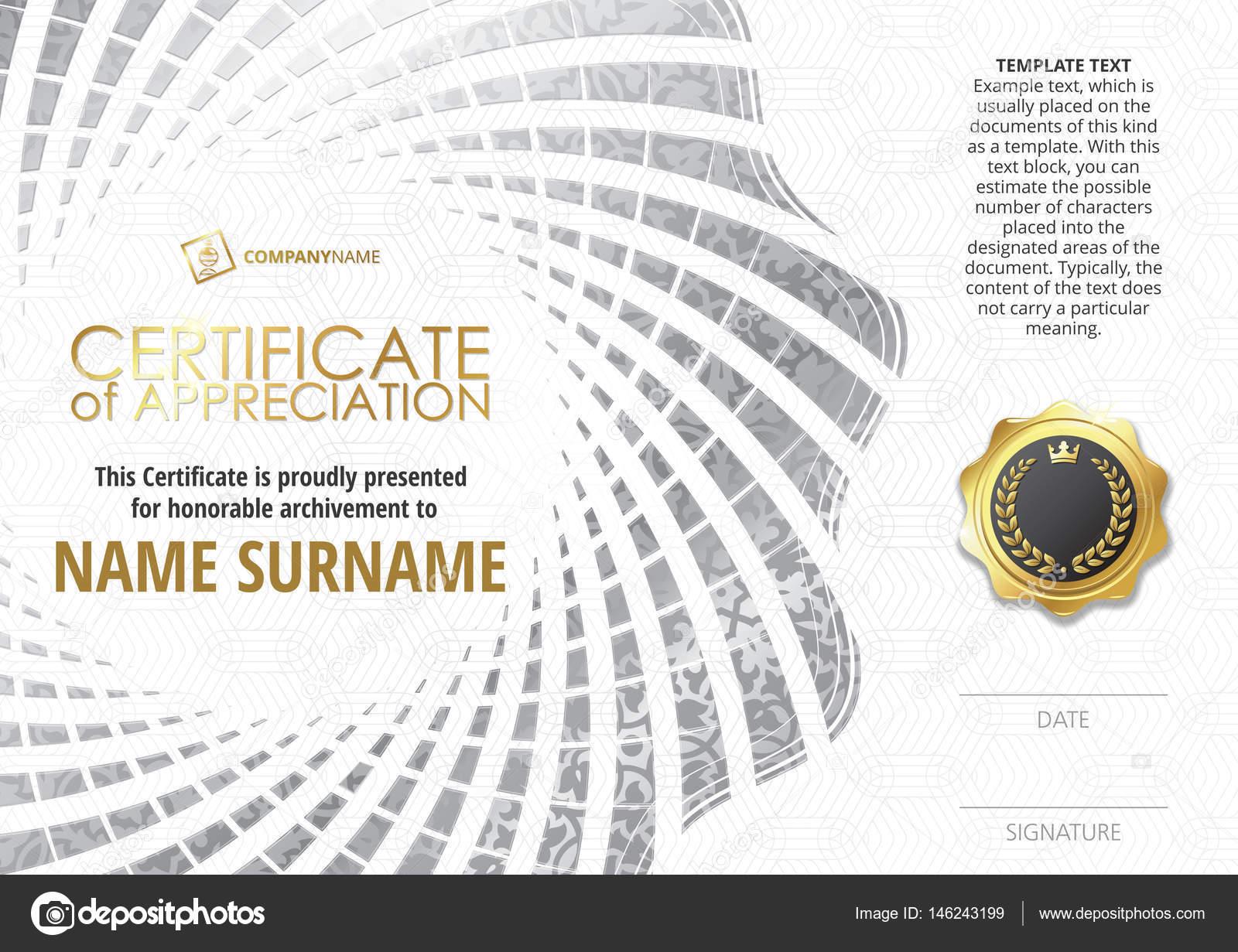 Vorlage des Certificate of Appreciation mit goldenen Abzeichen, mit ...
