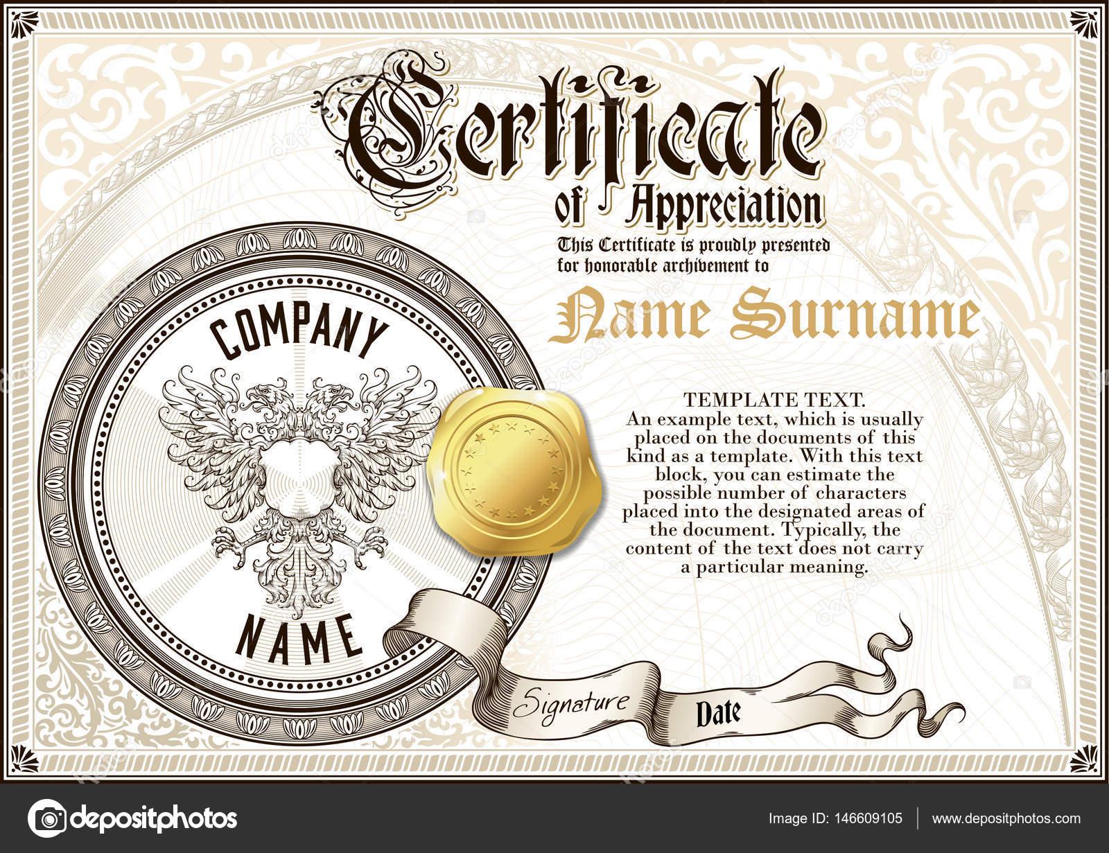 Plantilla de certificado de reconocimiento de vintage con logotipo ...