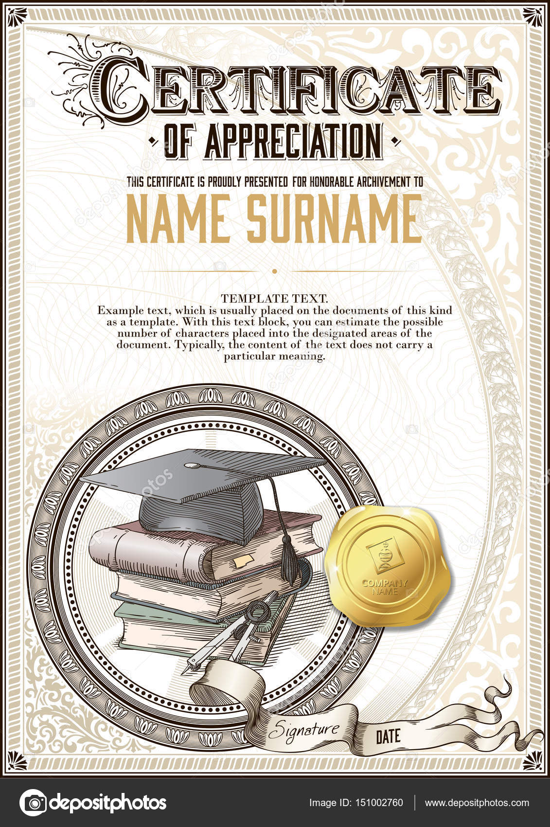 Template of vintage certificate of appreciation with a square template of vintage certificate of appreciation with a square academic cap a pile of books yelopaper Choice Image