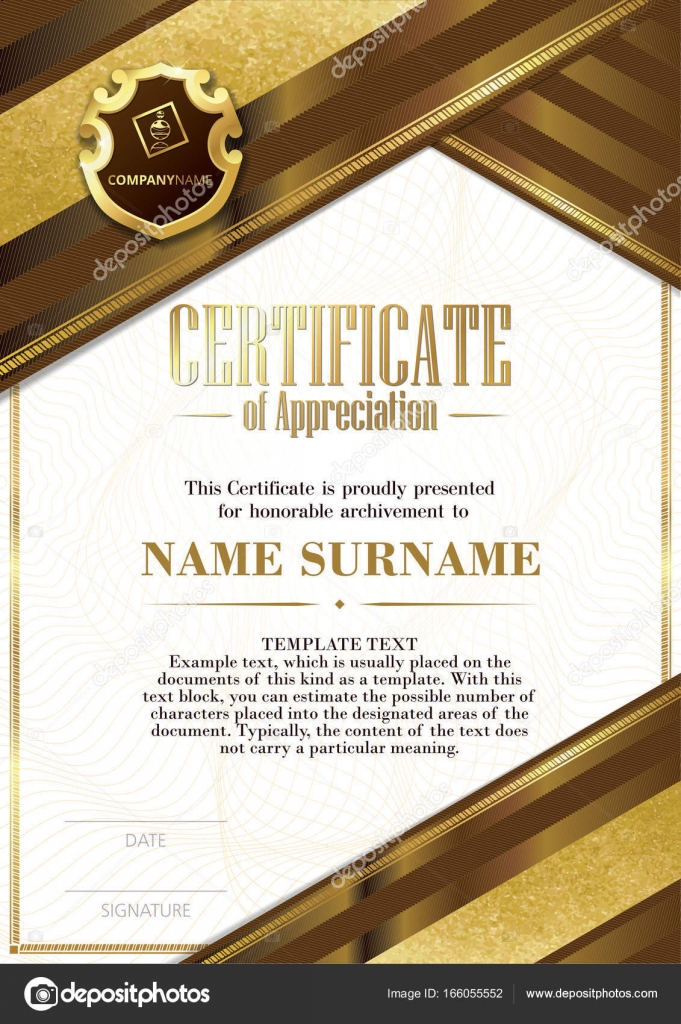 template of certificate of appreciation with badge and with brown