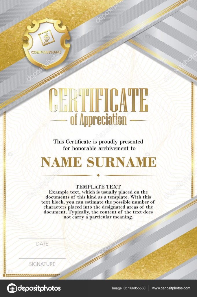 Template Of Certificate Of Appreciation With Badge And With Silver