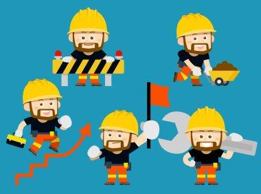 Vector illustration - cartoon character of worker,builder set stock vector