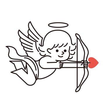 Cupid with a bow and an arrow.
