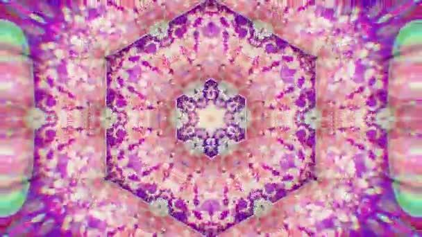 Barevné pozadí kaleidoskopický videa. Barevné vzory kaleidoskopický. Přiblížíte, duhová barva kruhu designu. Nebo pro události a clubsmedallion, jóga, Indie, arabský, mandaly, fraktální animace