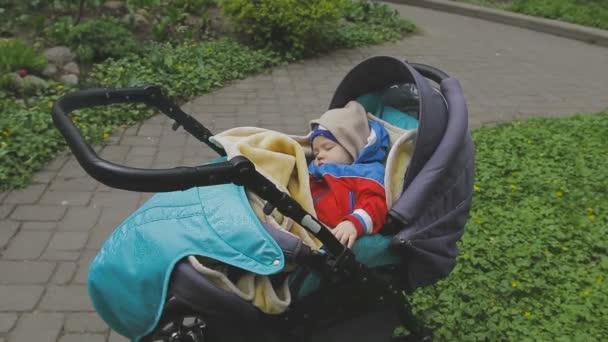 dolce piccolo bambino dorme nel passeggino